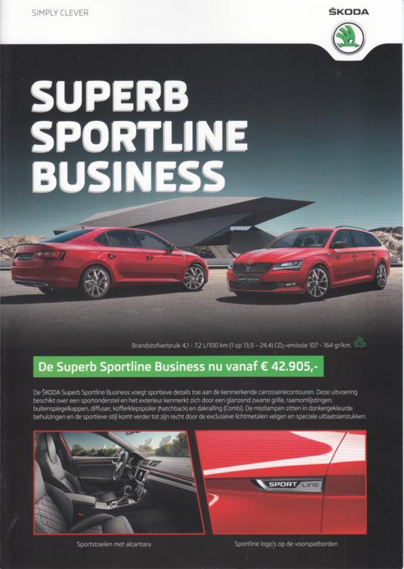 Superb Sportline Business brochure, 4 pages, Dutch language, 11/2016