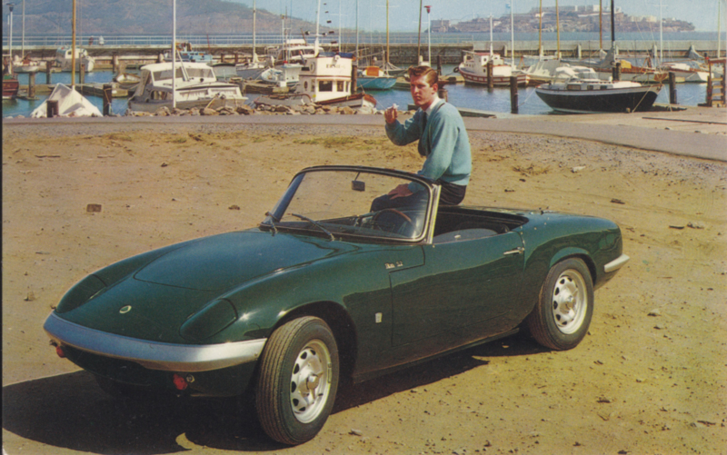 Elan S.2 Convertible, standard size postcard, about 1966, USA issue
