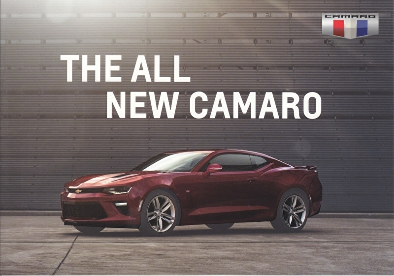 Camaro 2016, 2 heavy cardboard pages, export, English language, DIN A5