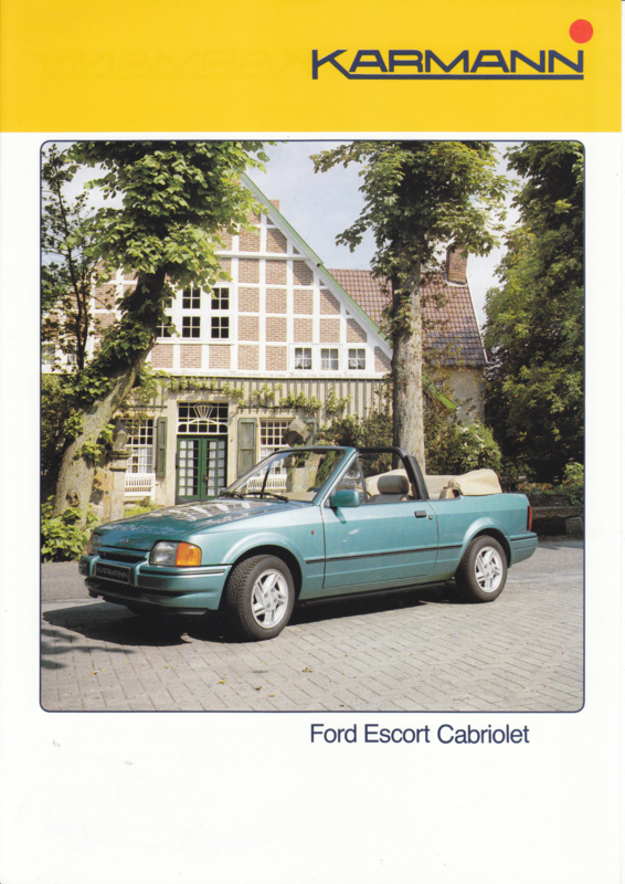Ford Escort Cabriolet by Karmann brochure, 2 pages, about 1987, German language