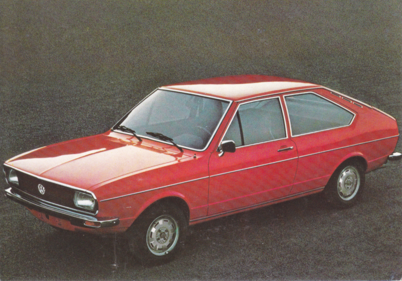 Passat 2-door Hatchback postcard,  A6-size, about 1973, # 1
