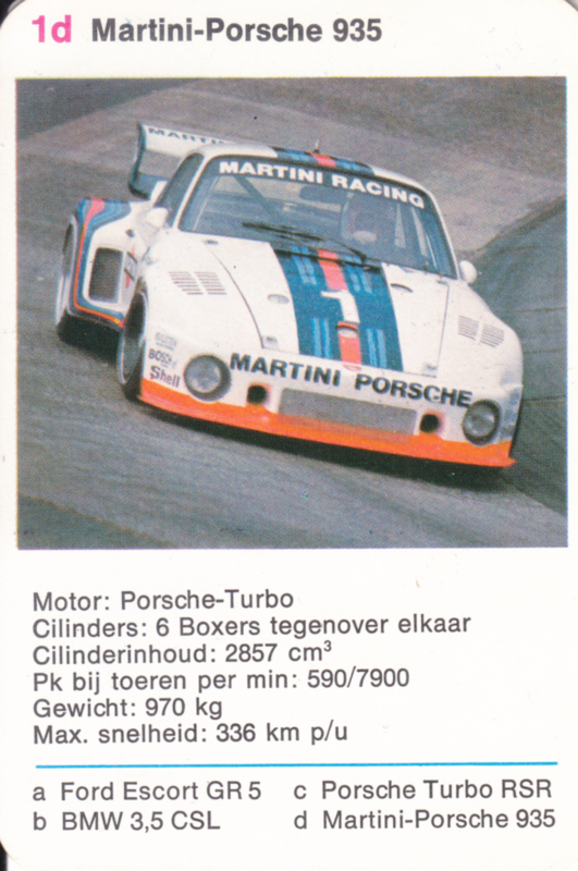 935 Martini-Porsche - number 1d - size 10 x 6,5 cm, Dutch language