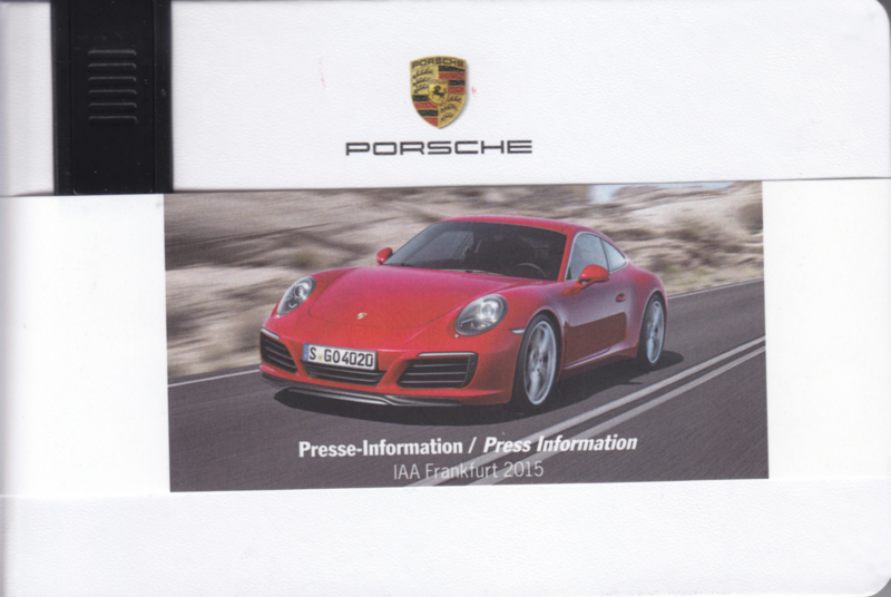 Porsche Press Kit IAA Frankfurt 2015, memory stick with pictures & small booklet, factory-issued,  German/English/French
