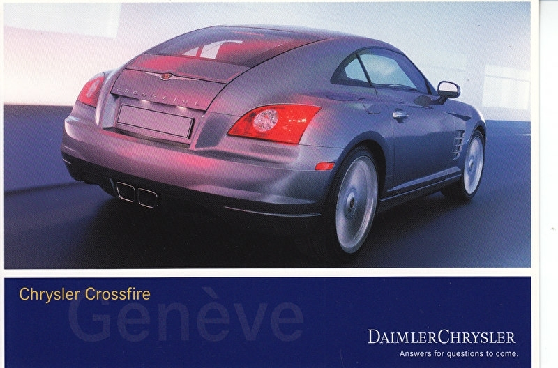 Chrysler Crossfire, A6-size postcard, Geneva 2002