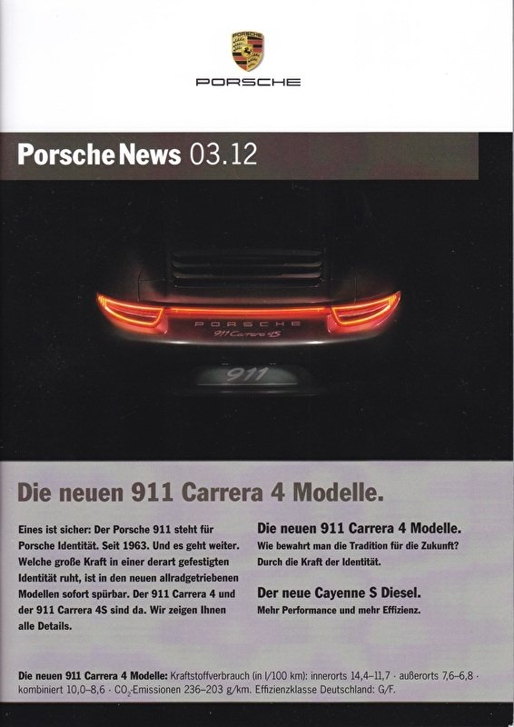 News 03/2012 with 911 Carrera 4 Modelle, 38 pages, 09/12, German language