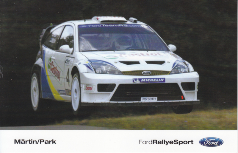 Focus RallyeSport driver Märtin & Park postcard, UK issue, English language