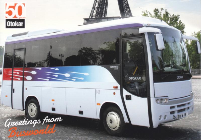Otokar Navigo mid-size coach postcard, A6-size, English language