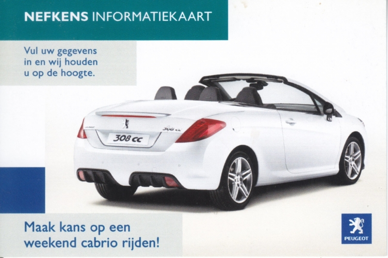308 CC info card, small  size 11 x 7,5 cm, Dutch