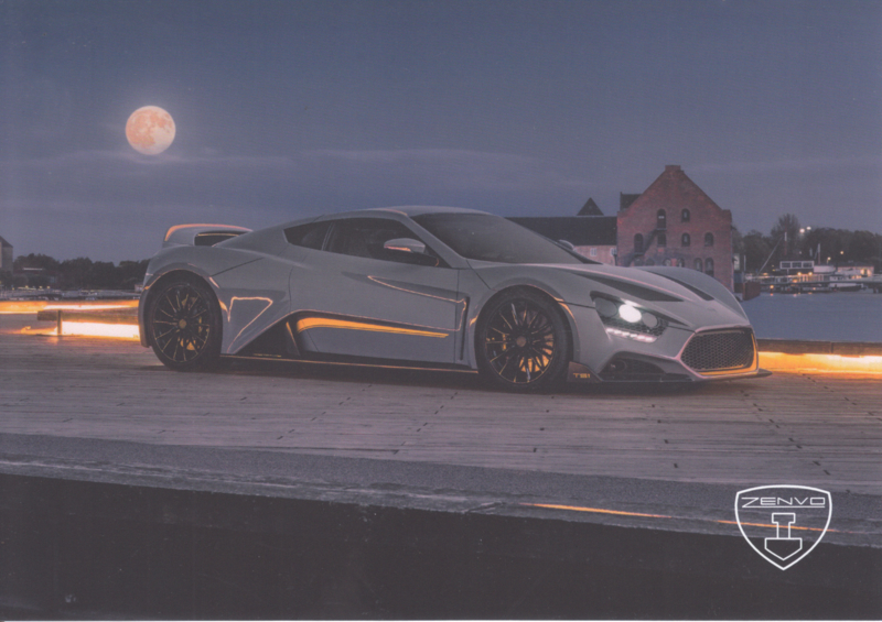 Zenvo TS1 sports car, A5-size postcard, factory-issued, 2018, month: November
