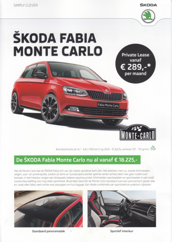 Fabia Monte Carlo brochure, 4 pages, Dutch language, 11/2016