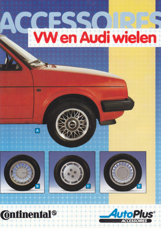 Audi & Volkswagen complete wheels folder, 4 pages, about 1984, Dutch language
