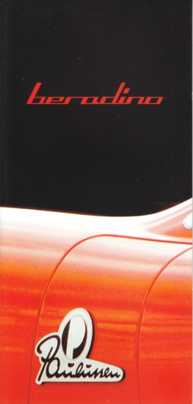 Beradino sportscar brochure, 8 pages, English language, about 2010, German design