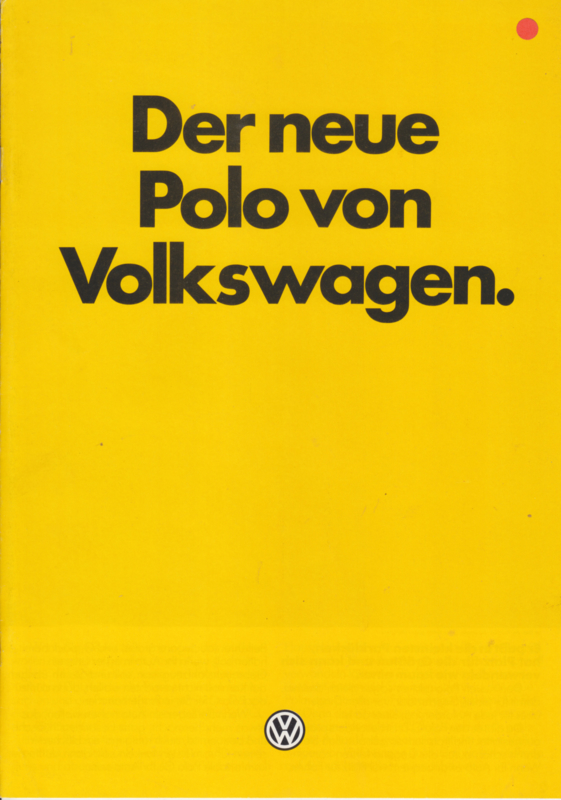 Polo 3-door brochure, 8 pages,  A4-size, German language, 9/1981