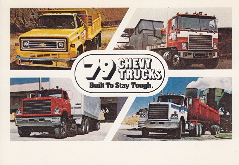 Chevy Trucks, 4 models, heavy duty, US postcard, standard size, 1979