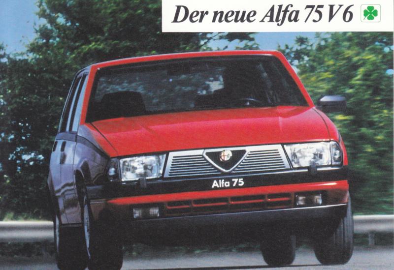 Alfa 75 V6 Sedan, advertising postcard, German, about 1985