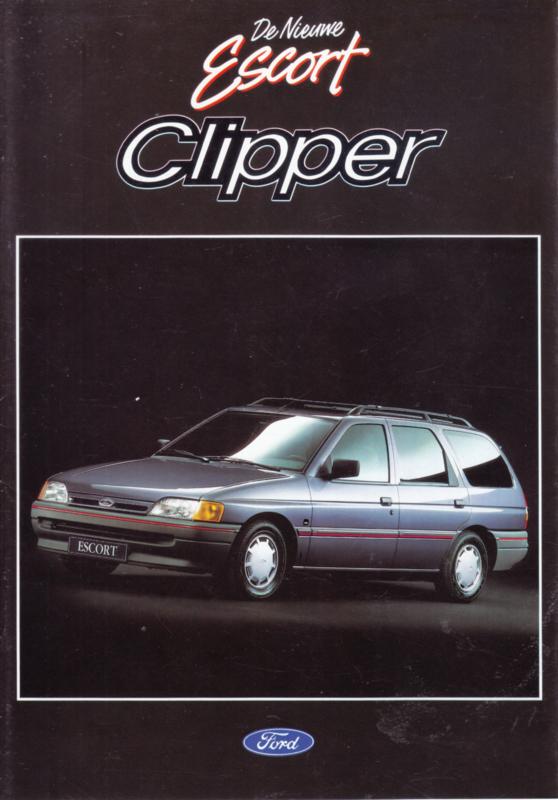 Escort Clipper Estate brochure, 10 pages, 12/1990, Dutch language