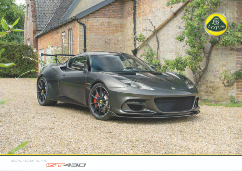 Evora GT 430 leaflet, 2 pages, DIN A4-size, factory-issued, English language