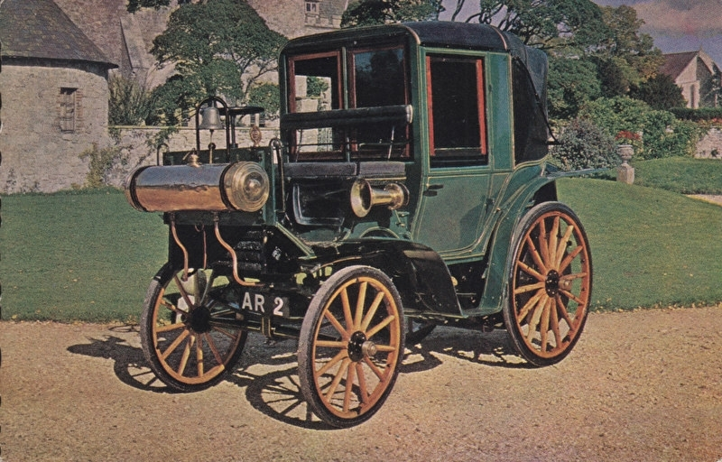 Cannstat Daimler 4 HP 1899, regular size postcard, Dutch (3 languages)