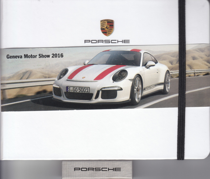 Porsche Press Kit Geneva 2016, memory stick with pictures & small booklet, factory-issued,  German/English/French