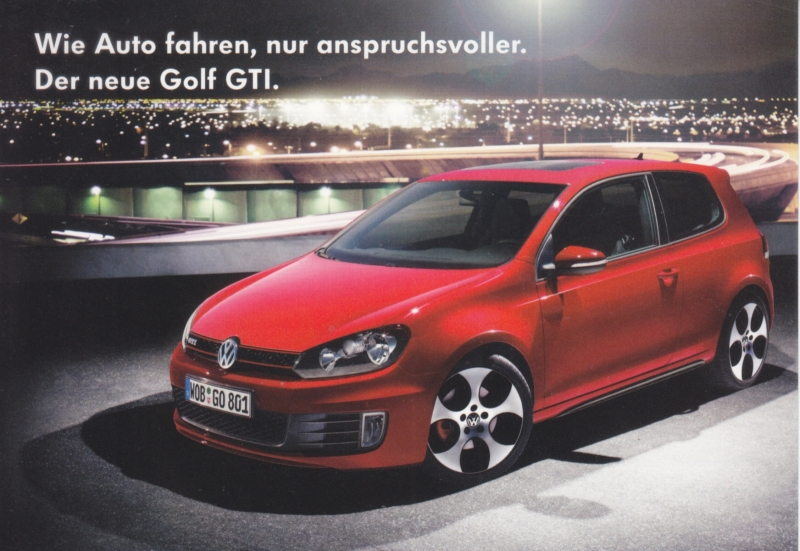 Golf GTi postcard,  A6-size, German language, about 2010