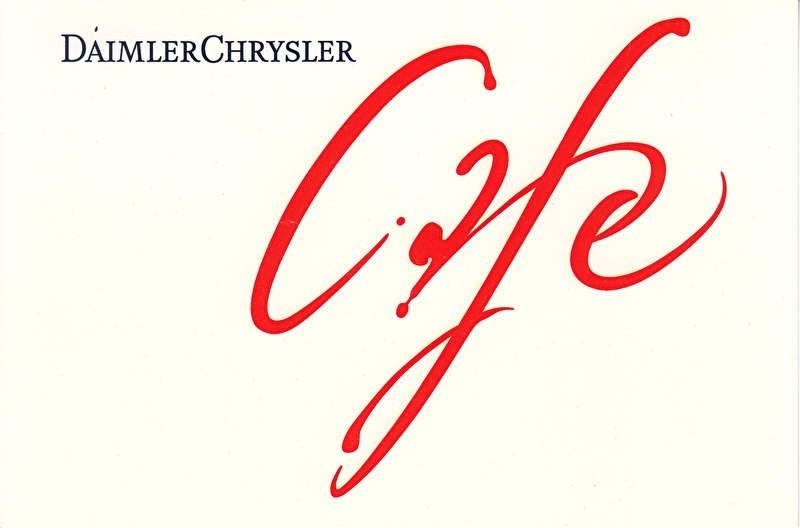 Daimler-Chrysler Cafe, A6-size postcard, NAIAS 1999, English