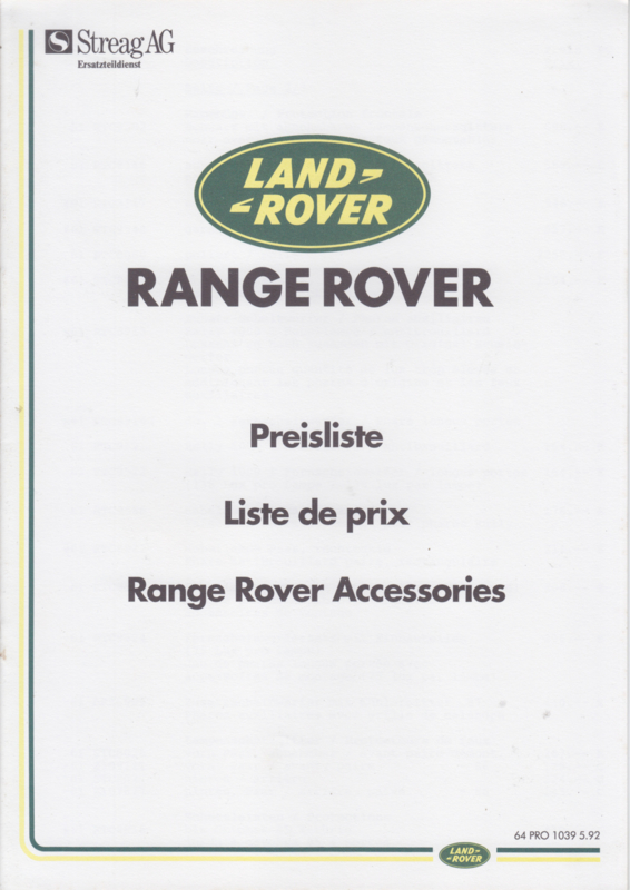 Range Rover accessories pricelist, 12 pages, A4-size, 5/1992, German/French language