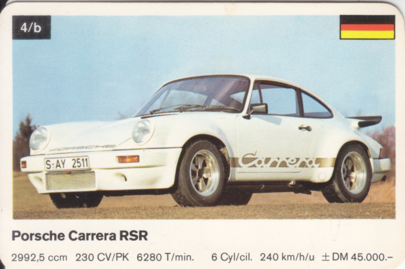 911 Carrera RSR - number 4/a - size 10 x 6,5 cm