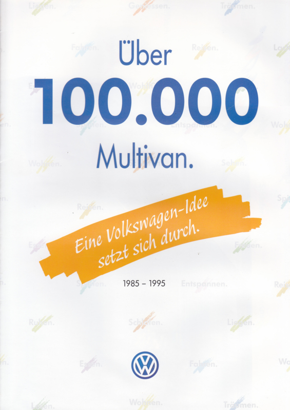 Multivan brochure, 8 pages,  A4-size, German language, 1995