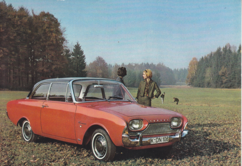 Ford Taunus 17M  2-door, advertising postcard, German, # 3 XD 160/1