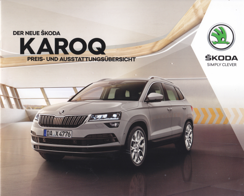 Karoq Prices & Equipment brochure, 12 pages, German language, 07/2017