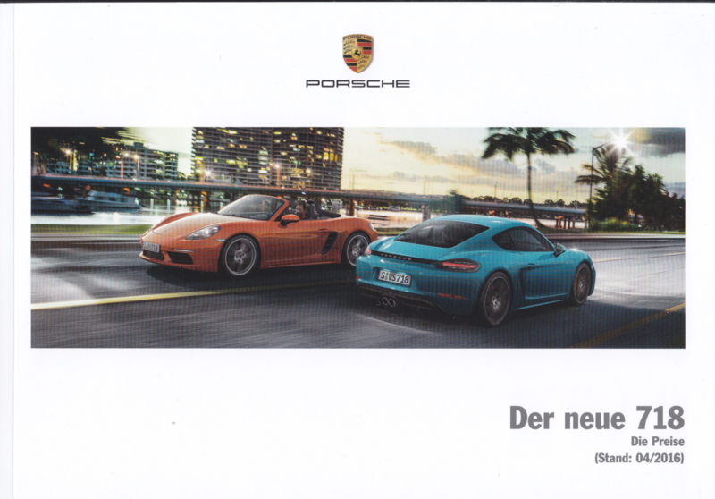 718 Boxster & Cayman pricelist,  76 pages, 04/2016, German language