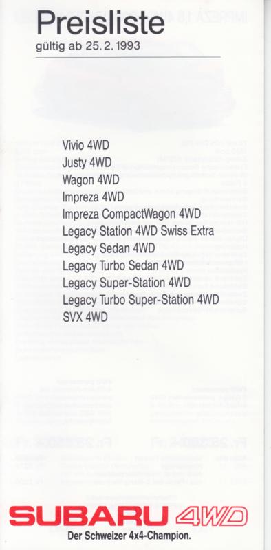 Pricelist brochure, 16 pages, German language, 02/1993, Switzerland