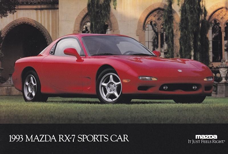 RX-7 Sports Car, 1993, US postcard, A5-size