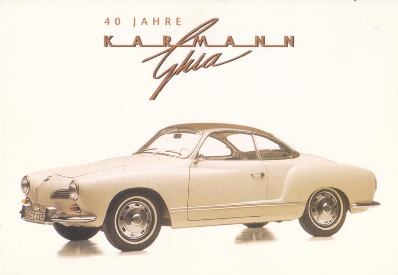 Karmann Ghia 1200 Coupe,  A6-size postcard, mid 1990s, German