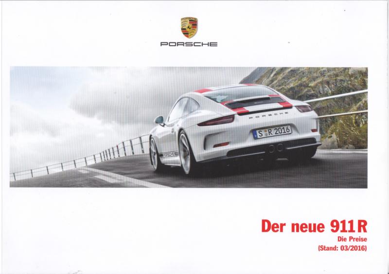 911 R pricelist brochure, 56 pages, 03/2016, German language