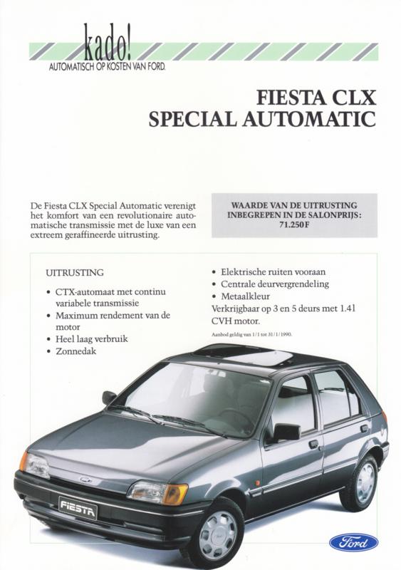 Fiesta CLX Special Automatic leaflet, 2 pages, 01/1990, Dutch language, Belgium