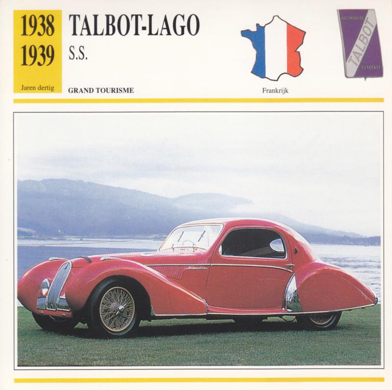 Talbot-Lago S.S. card, Dutch language, D5 019 01-02