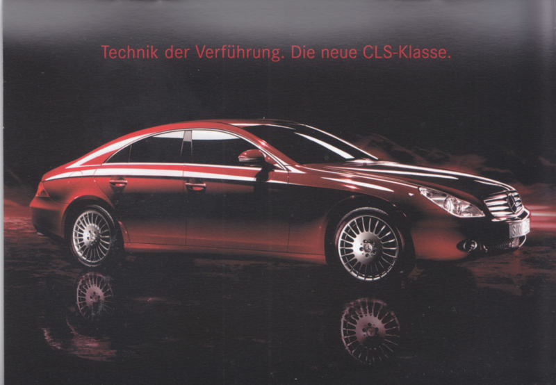 CLS 4-door Coupe intro brochure. 16 pages, postcard-size, 2004, German language (Swiss)