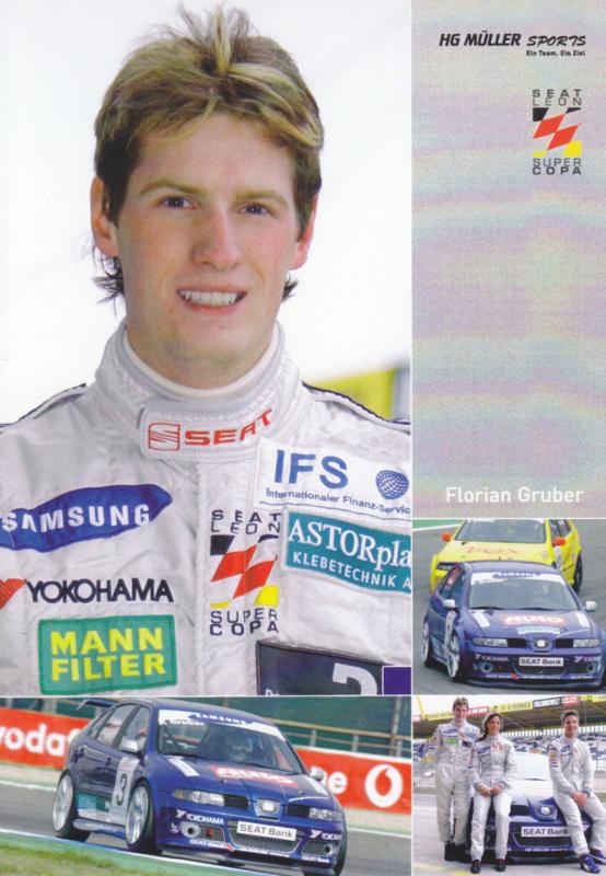 Leon racer Müller Motorsport driver Florian Gruber postcard, DIN A6 size, German language, 2005