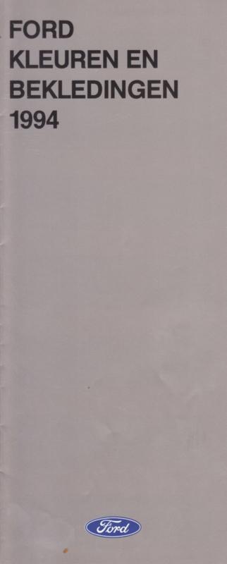Range colours & upholstery folder, 14 smaller pages, 8/1994, Dutch language