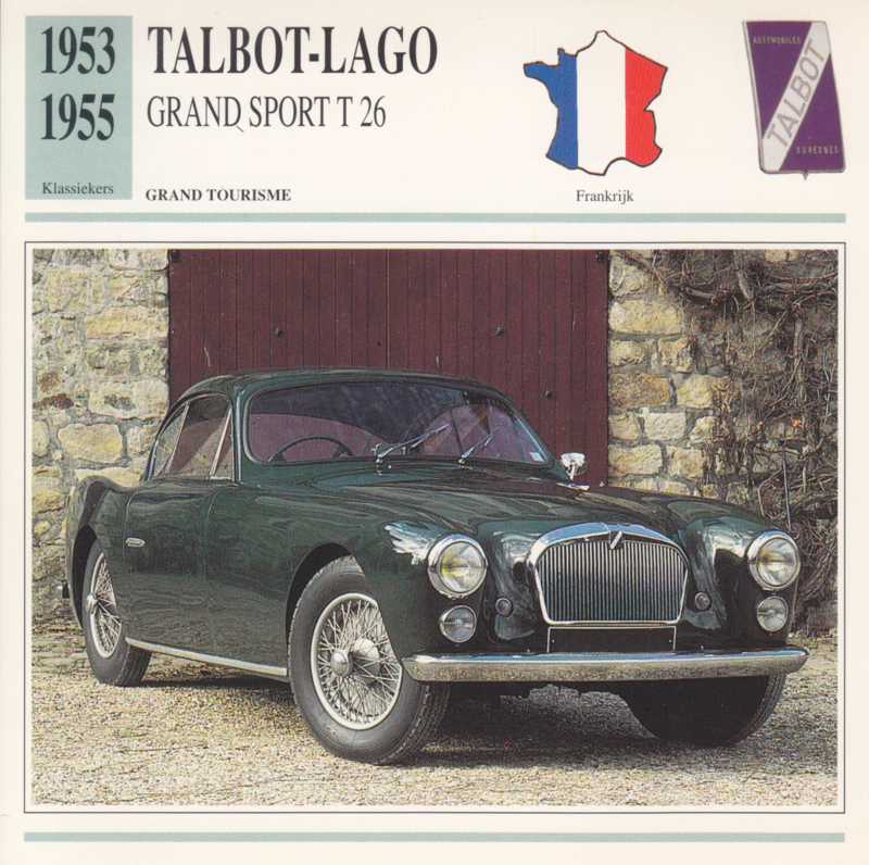 Talbot-Lago Grand Sport T 26 card, Dutch language, D5 019 03-15