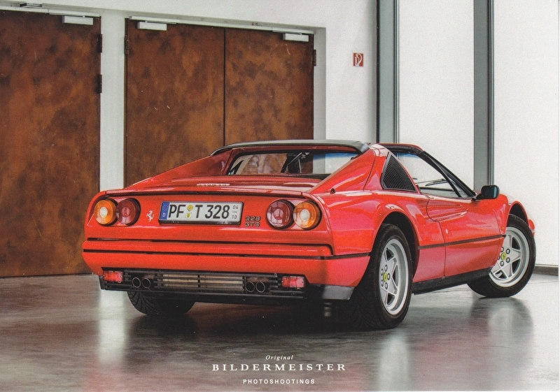 328 GTS, continental size postcard, Bildermeister, 03/2014