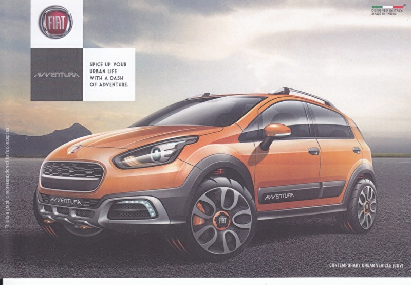 Avventura CUV, A6-size postcard, issued by Fiat India at Delhi Auto Expo, 2014