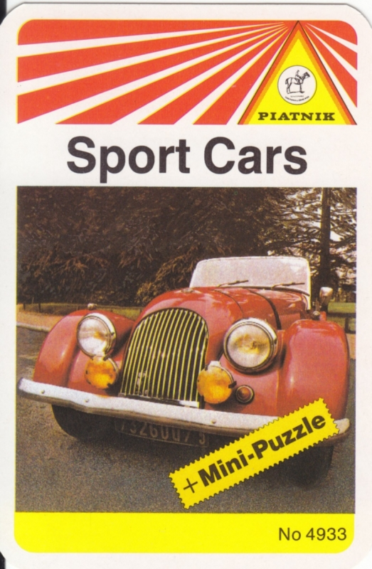 Sport cars set by Piatnik,  about 1980, 32 different cards in plastic cover, Italian issue