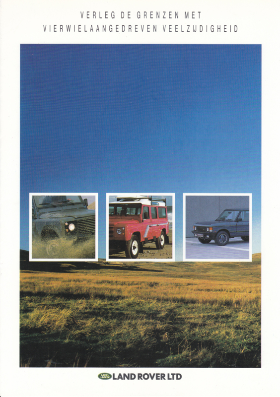 Program Ninety/One-Ten/Range Rover brochure, 6 pages, about 1989, Dutch language
