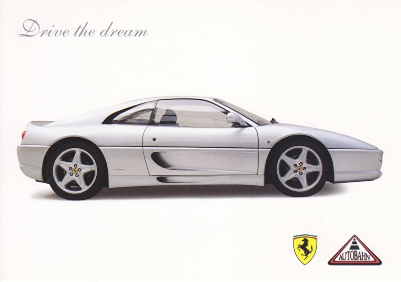 F355 Coupe, A6-size postcard, ZoCard Singapore, 2003, English language