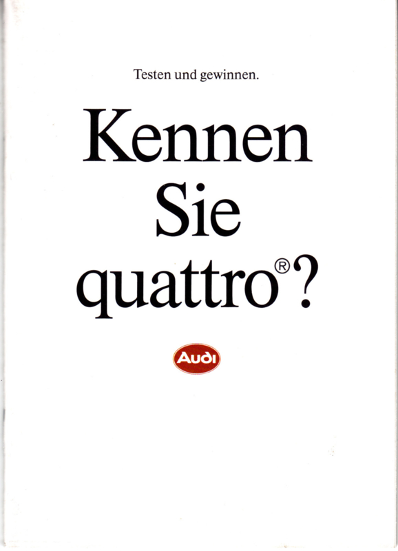 quattro - Facts & figures brochure, 32 small pages, 1/1989, German language