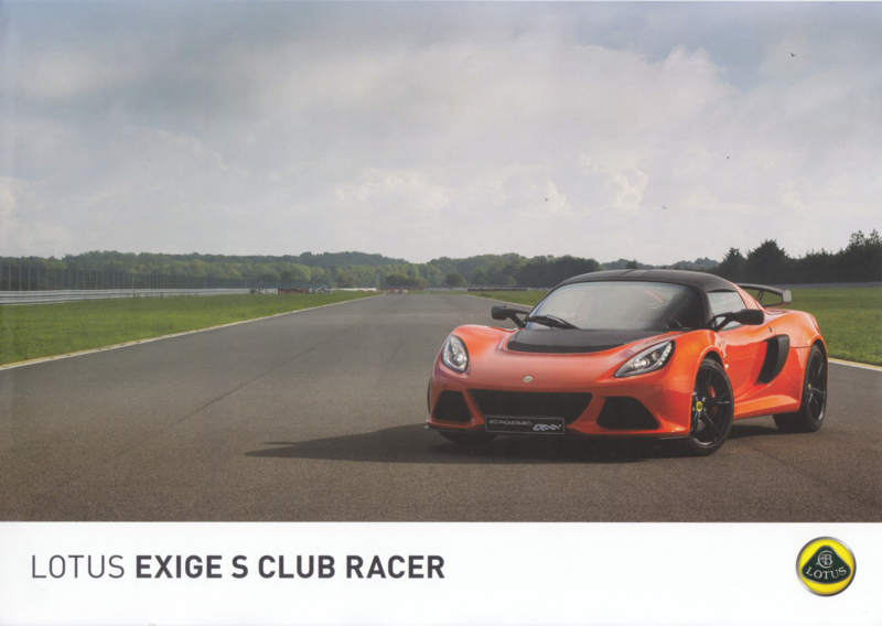 Exige S Club Racer, 2 page leaflet, DIN A4-size, factory-issued, English language