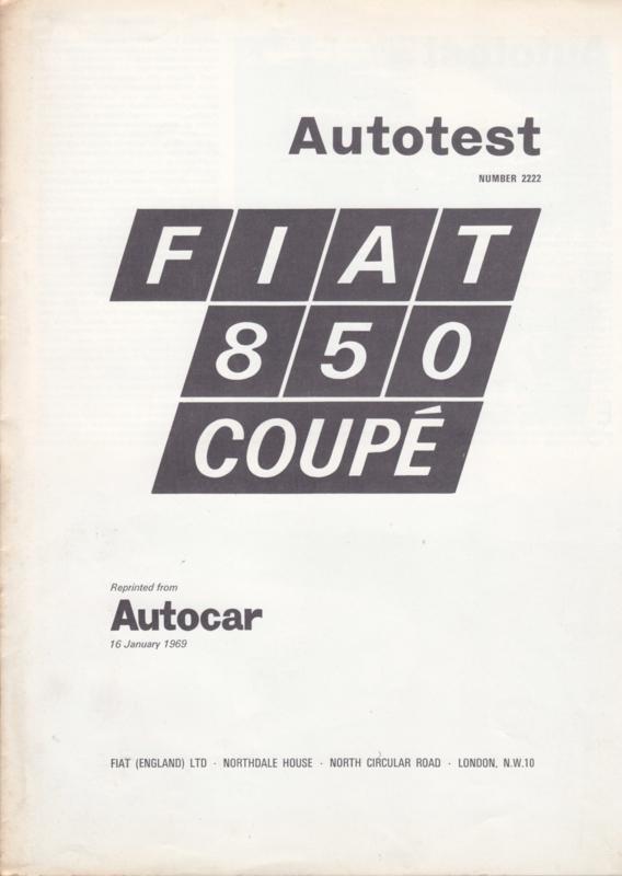 850 Coupé Autocar magazine reprint, 8 large pages, 01/1969, English language