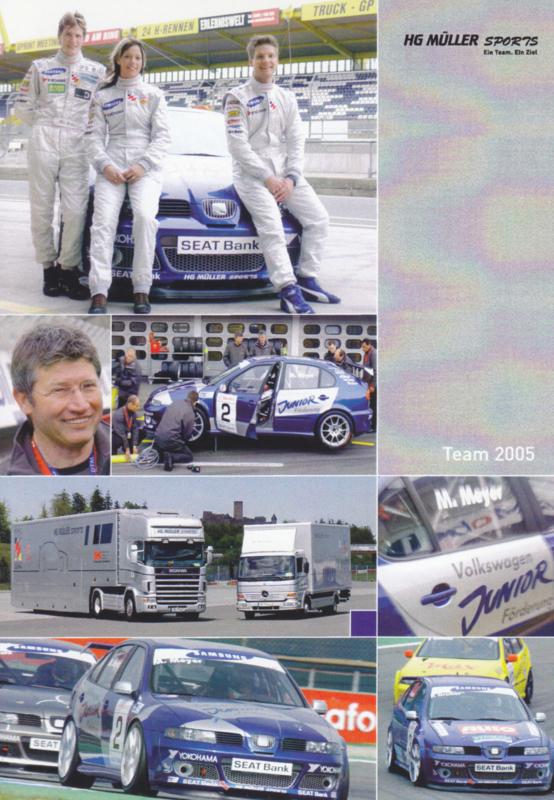 Leon racer Müller Motorsport postcard, DIN A6 size, German language, 2005